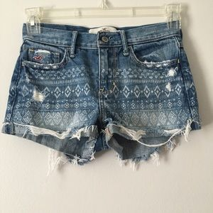 Hollister Shorts - Hollister patterned print jean shorts size 0